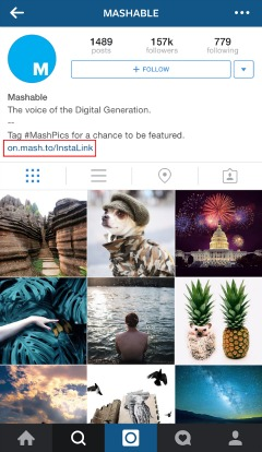 Encourage users to click through to a link that will take them to an article related to the Instagram photo.