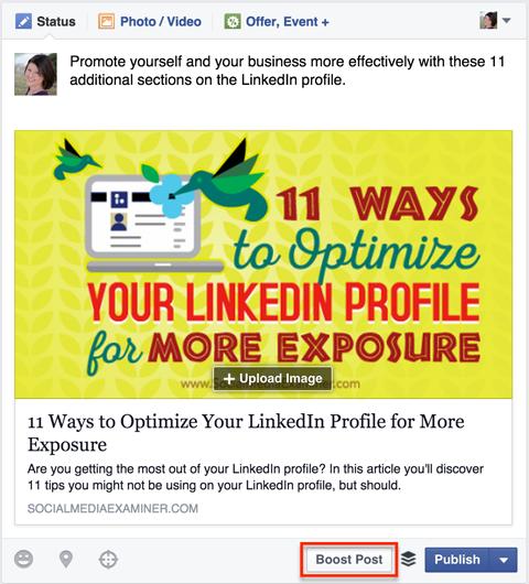 facebook book boost post button example