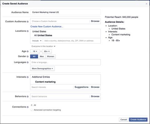 facebook saved audience