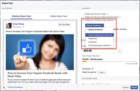 choosing a facebook saved audience
