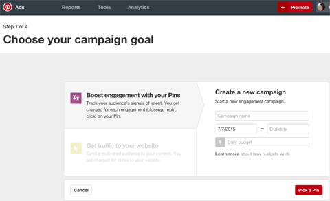 create a pinterest campaign
