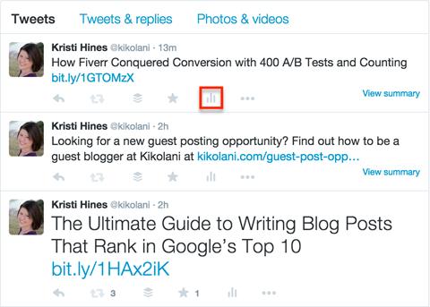 twitter analytics icon in a tweet