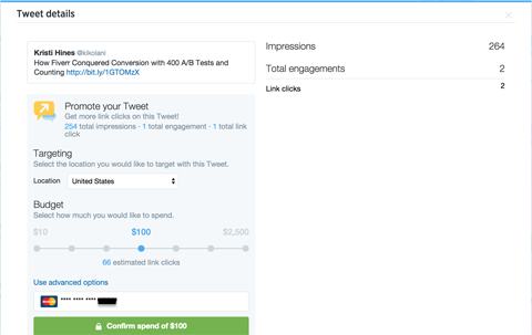 promoted tweet setup options