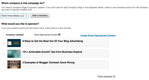 choosing linkedin company page to sponsor from