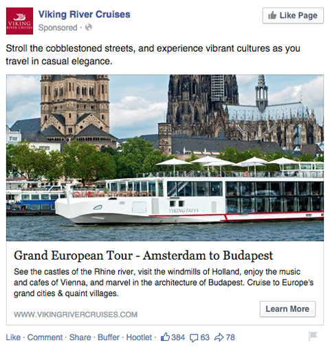 viking river cruises facebook news feed ad