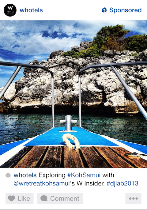 whotels instagram sponsored post