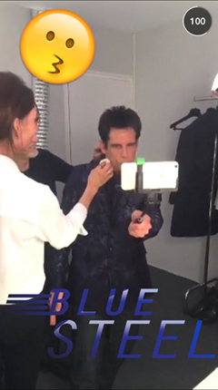 snapchat image from fashion week featuring ben stiller