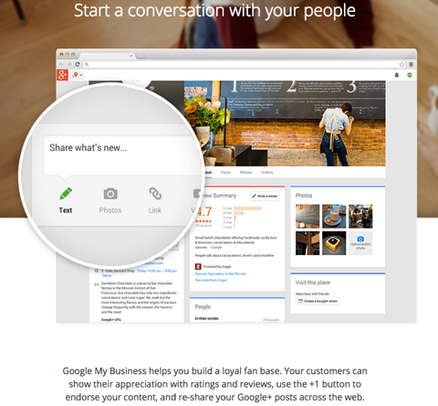Google+ business page product features