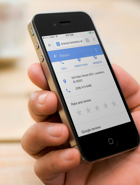 google review of brava's on a mobile phone