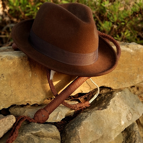 fedora and whip image shutterstock 224324842