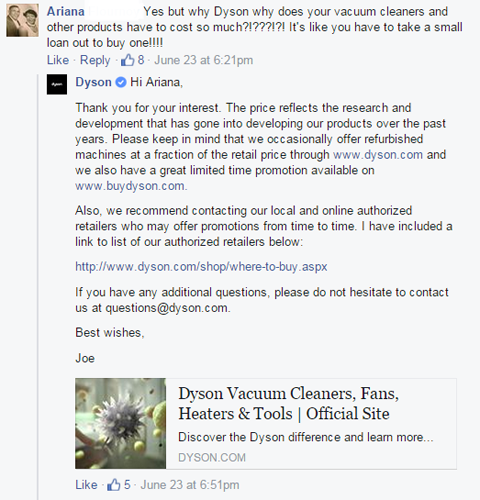 dyson customer query response