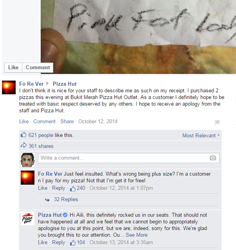 pizza hut apology