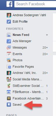 saved link on facebook