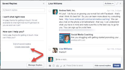 facebook saved message