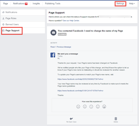 facebook page support