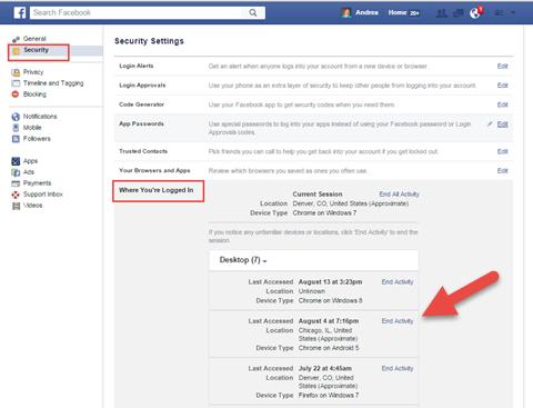 facebook security settings