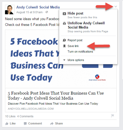 save link on facebook