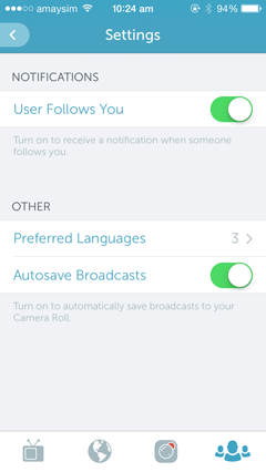 periscope settings screenshot