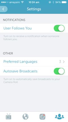periscope settings screenshot