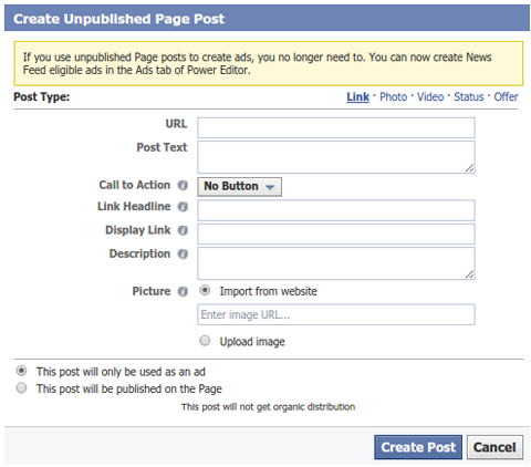 unpublished post creation