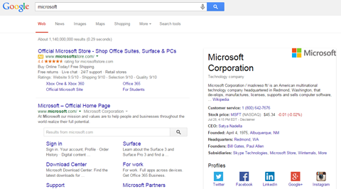 social profiles shown in search results
