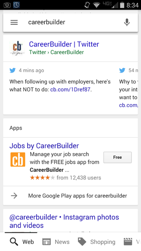 tweet shown in search results