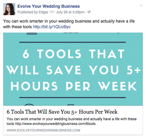 evolve your wedding business facebook post
