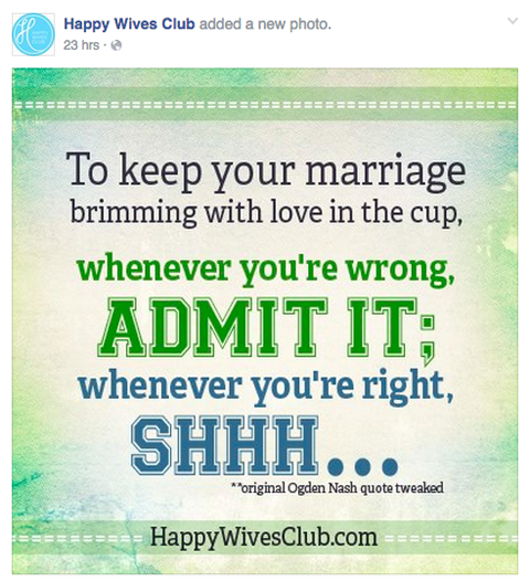 happy wives club facebook post