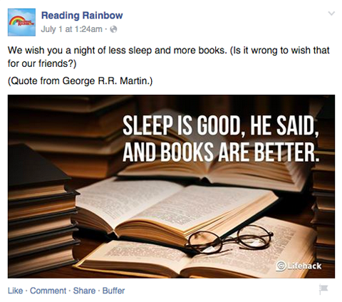 reading rainbow facebook post