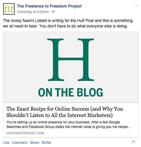 the freelance to freedom facebook post