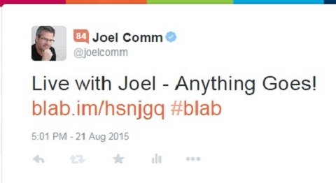 tweet promoting upcoming blab