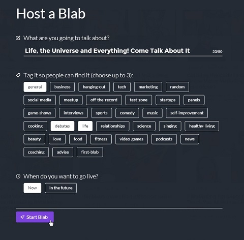 host a blab screen with tags