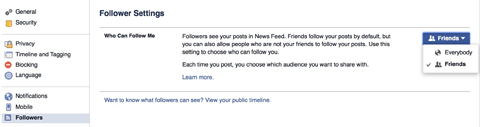 facebook follower settings example
