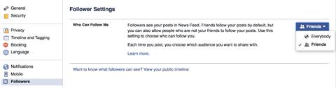 facebook follower settings example
