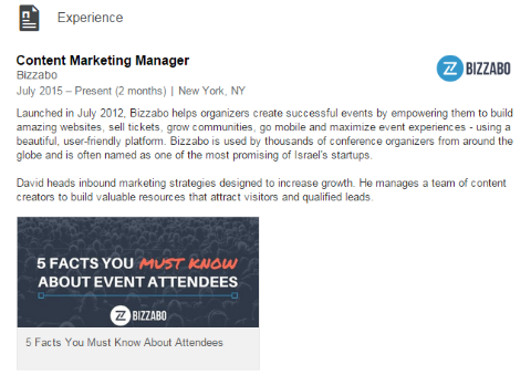 linkedin experience with visual elements example