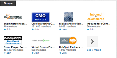 linkedin groups listed in a profile
