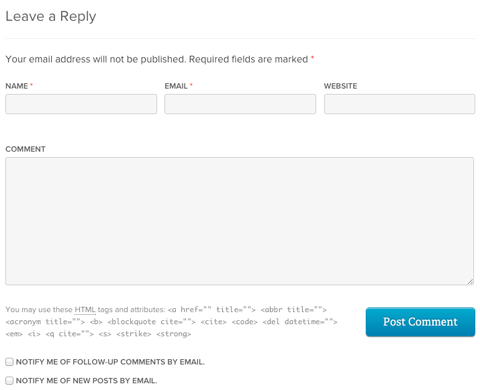 wordpress blog comment system example
