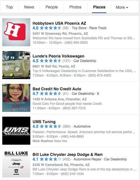 local facebook pages in search results for cars
