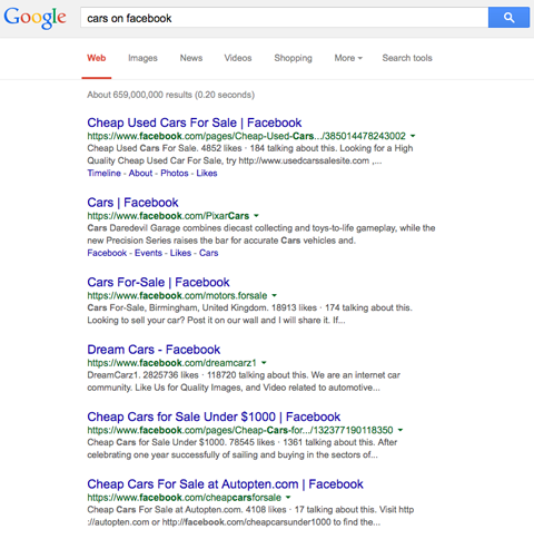 google search results for cars on facebook