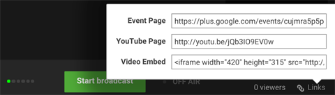 google+ hangouts bottom control panel image