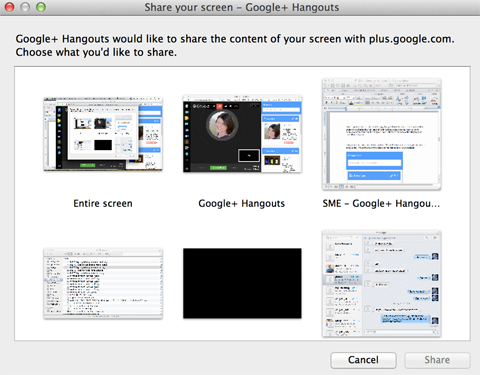 google+ hangouts screen-sharing options