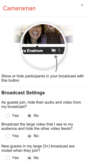 google+ hangouts cameraman options