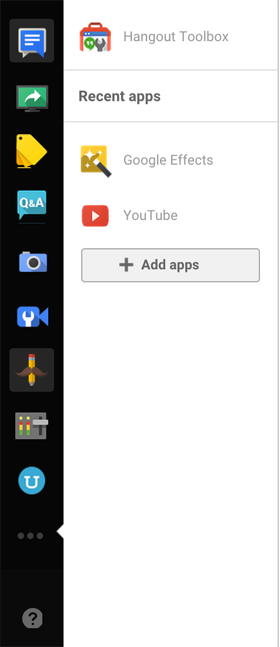 google+ hangouts left control panel image