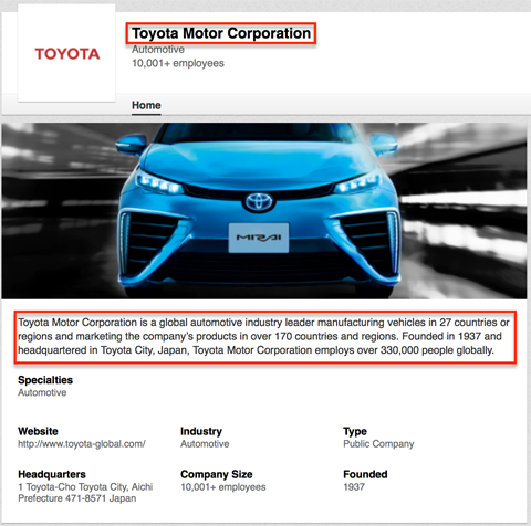 toyota linkedin company page elements that show in google search results