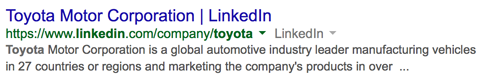 toyota linkedin company page in google search results