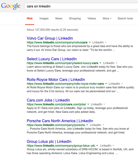 linkedin company page results in google search results for cars on linkedin