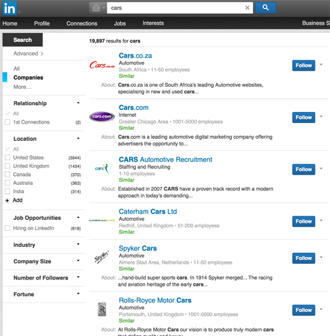 linkedin company page results in linkedin search results for cars