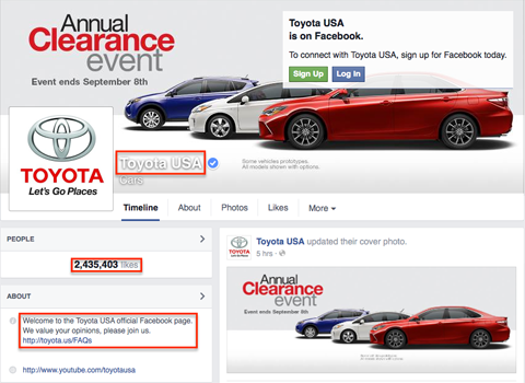 facebook page elements that show in google search results