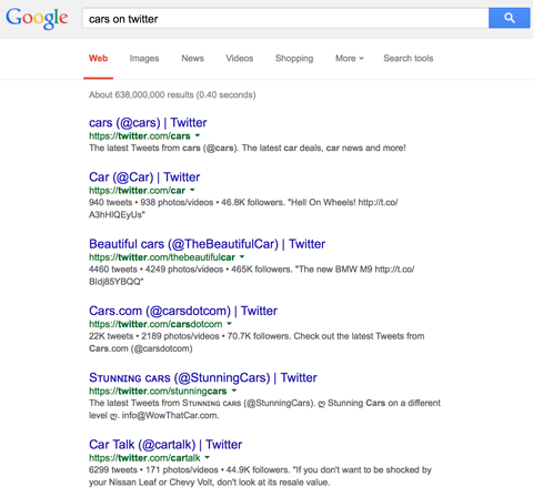 twitter profile results in google search for cars on twitter