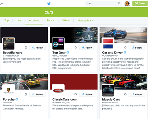 twitter search results for cars